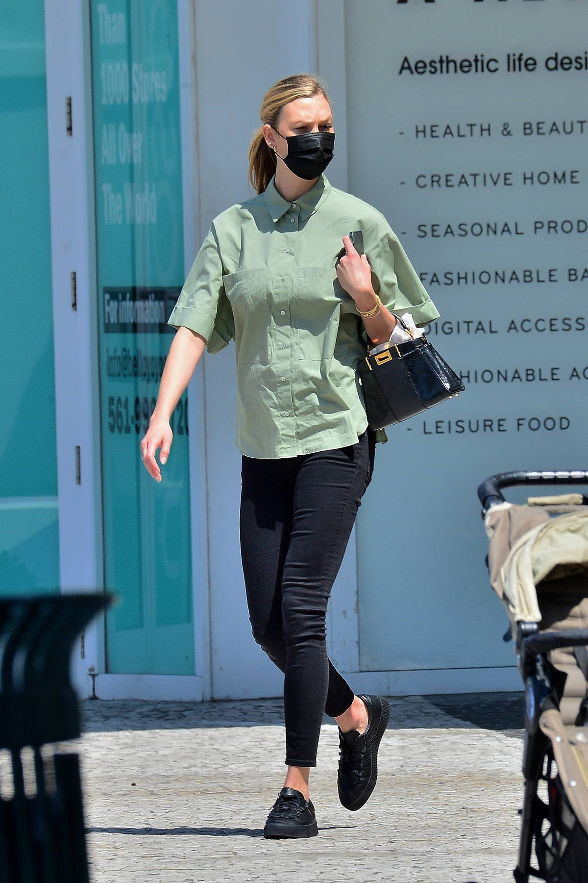 Karlie Kloss spotted for the first time since giving birth to her first child as she stepped out in Miami, Florida
