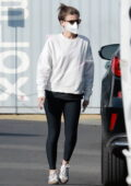 Kate Mara enjoys a sunset walk with her daughter and a friend in Los Angeles
