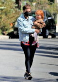 Kate Mara takes her daughter out for a morning walk in Los Feliz, California