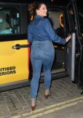 Kelly Brook dons double denim as she leaves Global Radio studio in London, UK