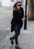 Kelly Brook is all smiles as she arrives for her Heart FM show at the Global Radio Studios in London, UK
