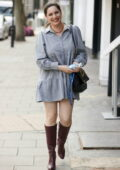 Kelly Brook looks radiant in a grey minidress and knee-high boots while arriving at the Global Radio studios in London, UK