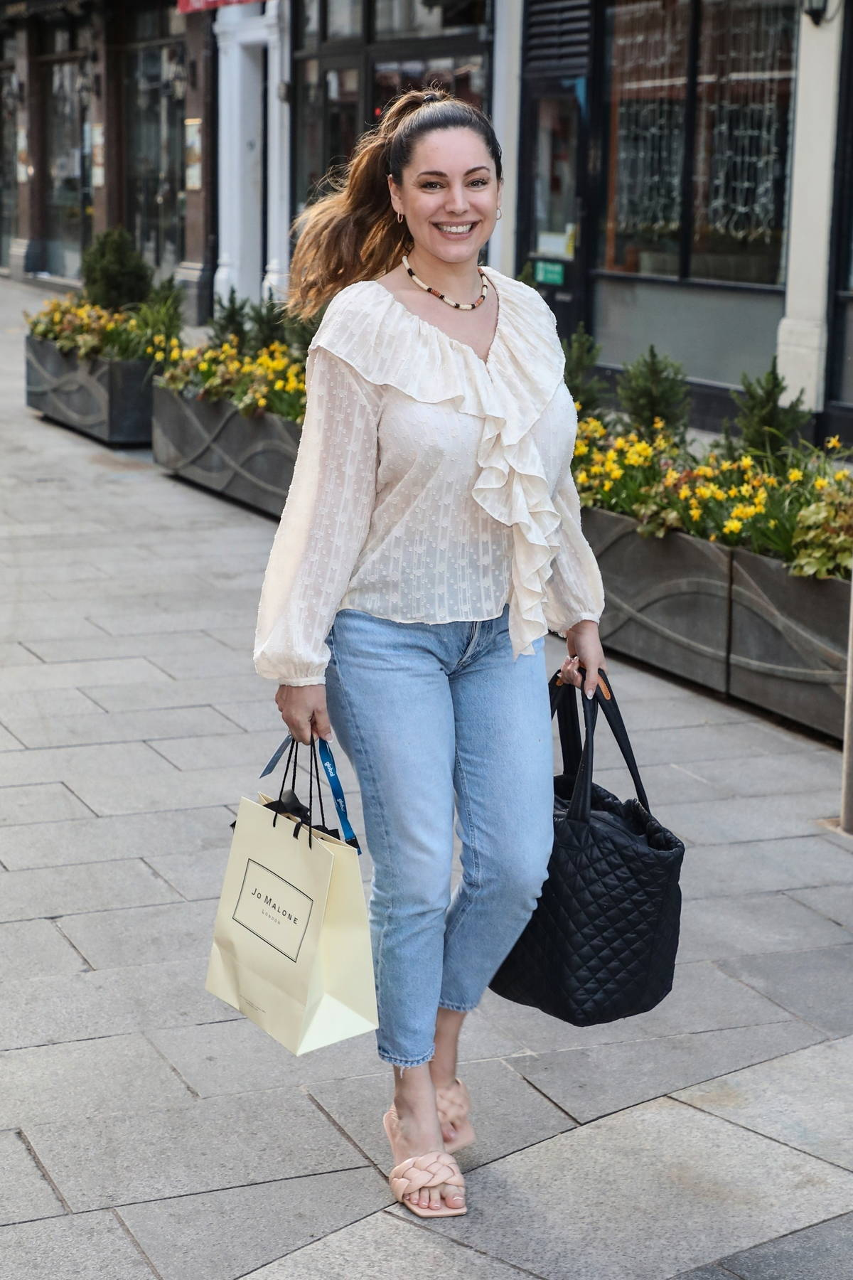 Kelly Brook seen leaving her Heart FM show at the Global Radio Studios in London, UK