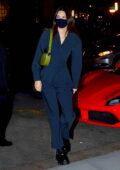 Kendall Jenner wears a matching dark blue outfit while heading out for dinner with friends at Nobu in New York City