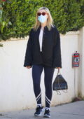 Kiernan Shipka wears a quilted jacket and leggings as she heads for a workout in Beverly Hills, California