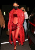Kylie Jenner looks sensational in red as she arrives at Justin Bieber's album release party in West Hollywood, California