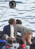 Lady Gaga and Adam Driver spotted filming a kissing scene on a boat for their new film 'House of Gucci' at Lake Como, Italy