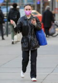 Lily-Rose Depp keeps warm in a black leather jacket as she steps out to run a few errands in New York City