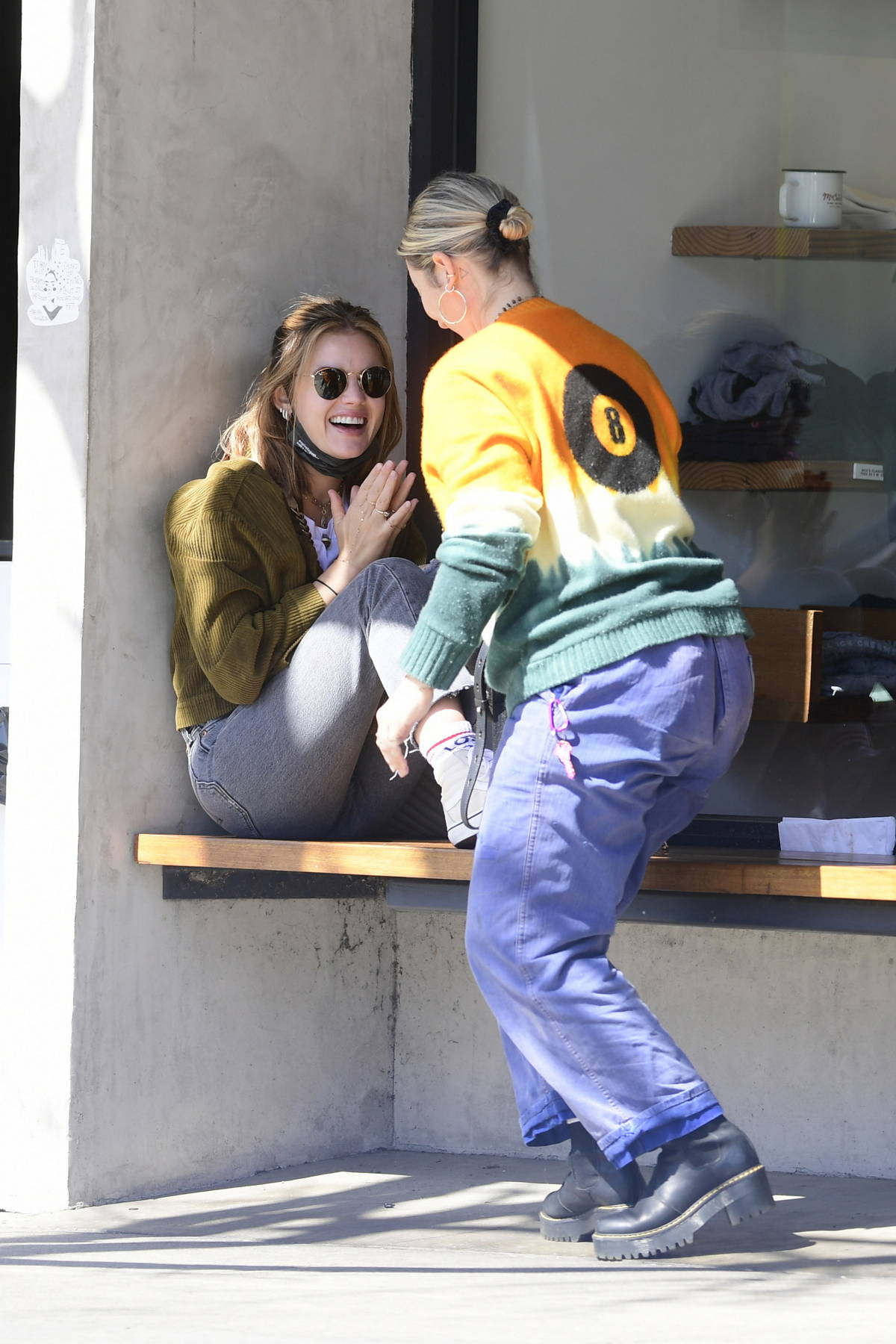 Lucy Hale looked happy while catching up with a friend over coffee in Los Angeles