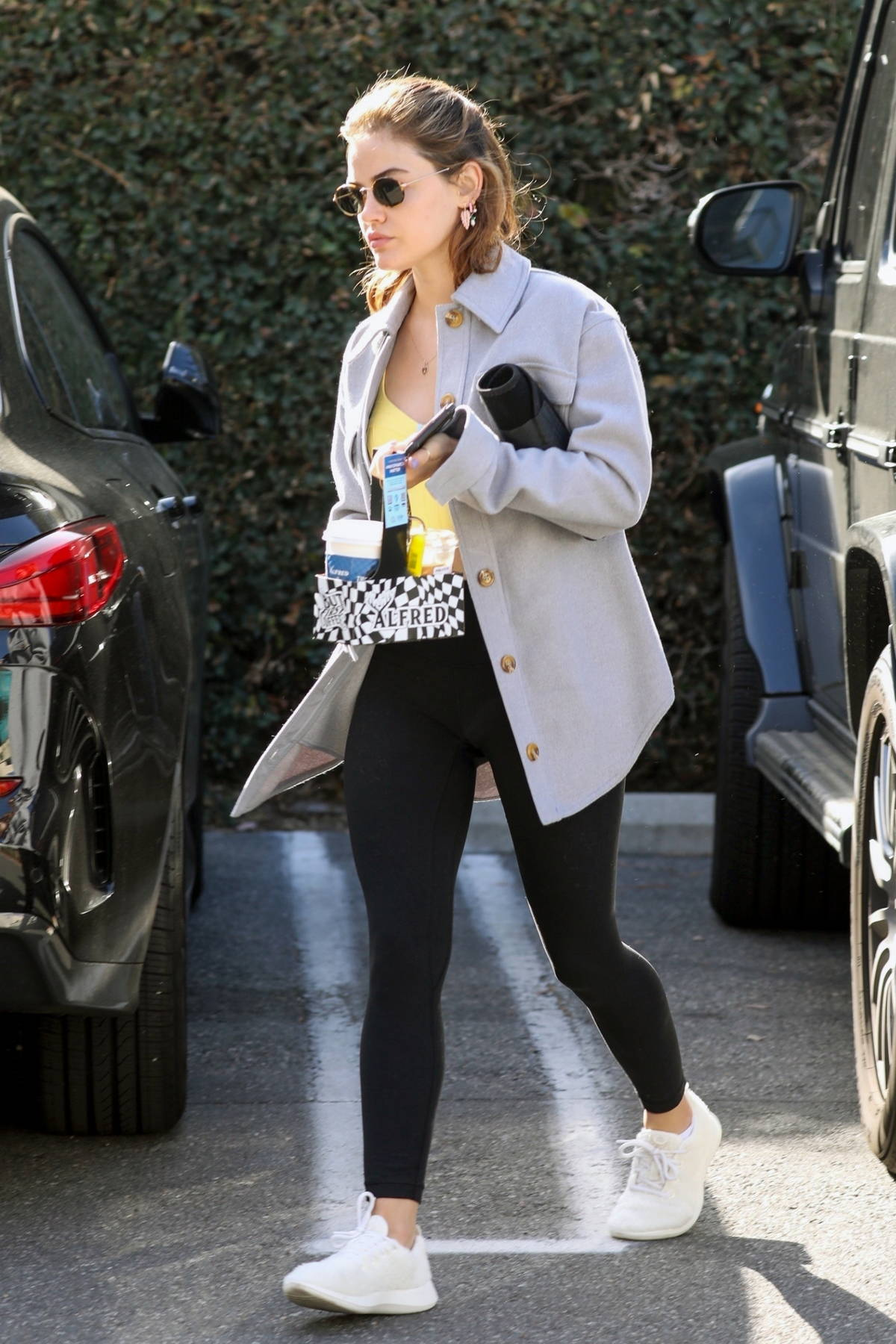 Lucy Hale shops for groceries at Erewhon Market before some more shopping at Target in Los Angeles