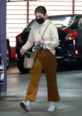 Lucy Hale wears a hoodie and corduroy pants for her trip to the Jewelry store in Downtown Los Angeles