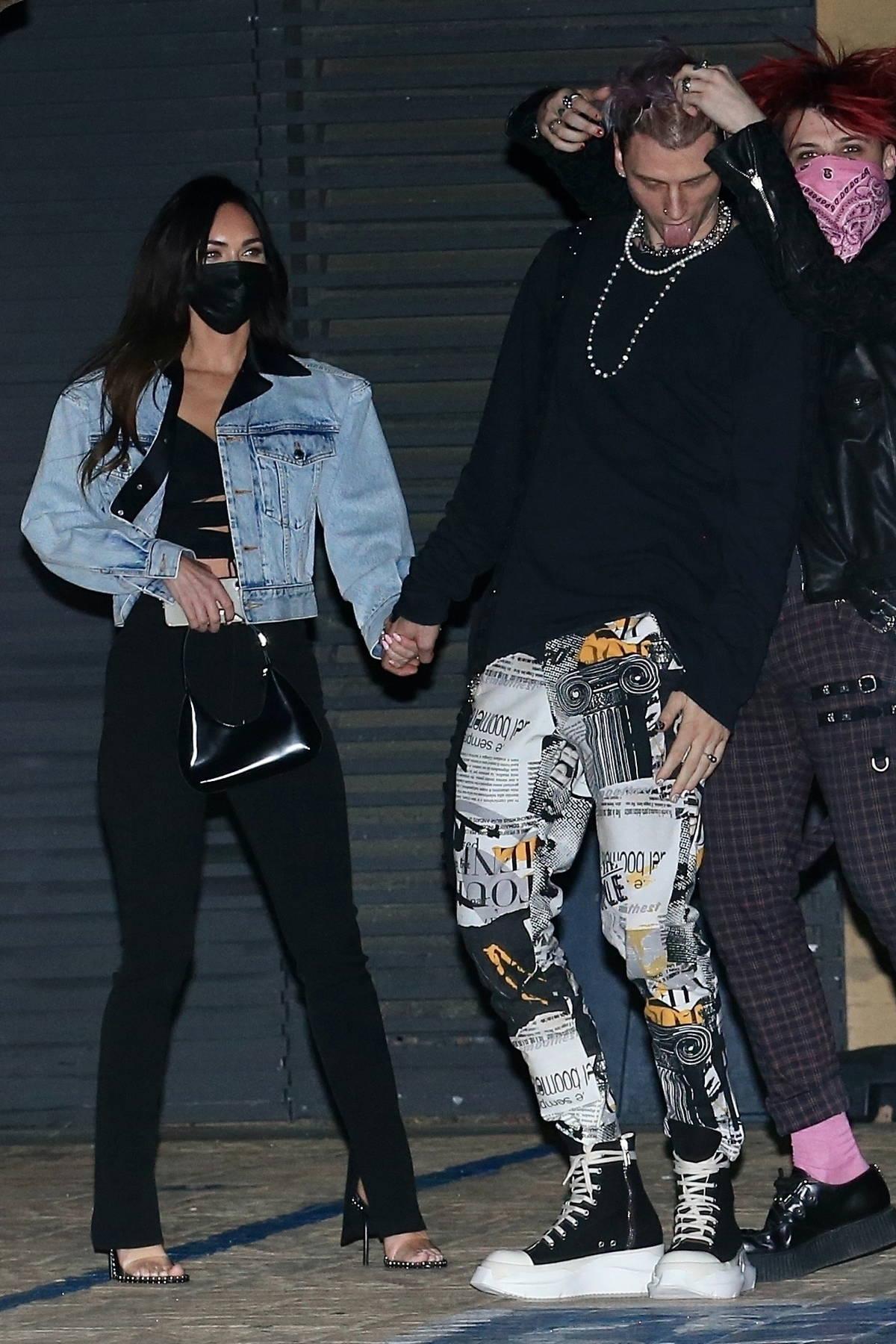 Megan Fox and Machine Gun Kelly seen grabbing dinner with friends at Nobu in Malibu, California