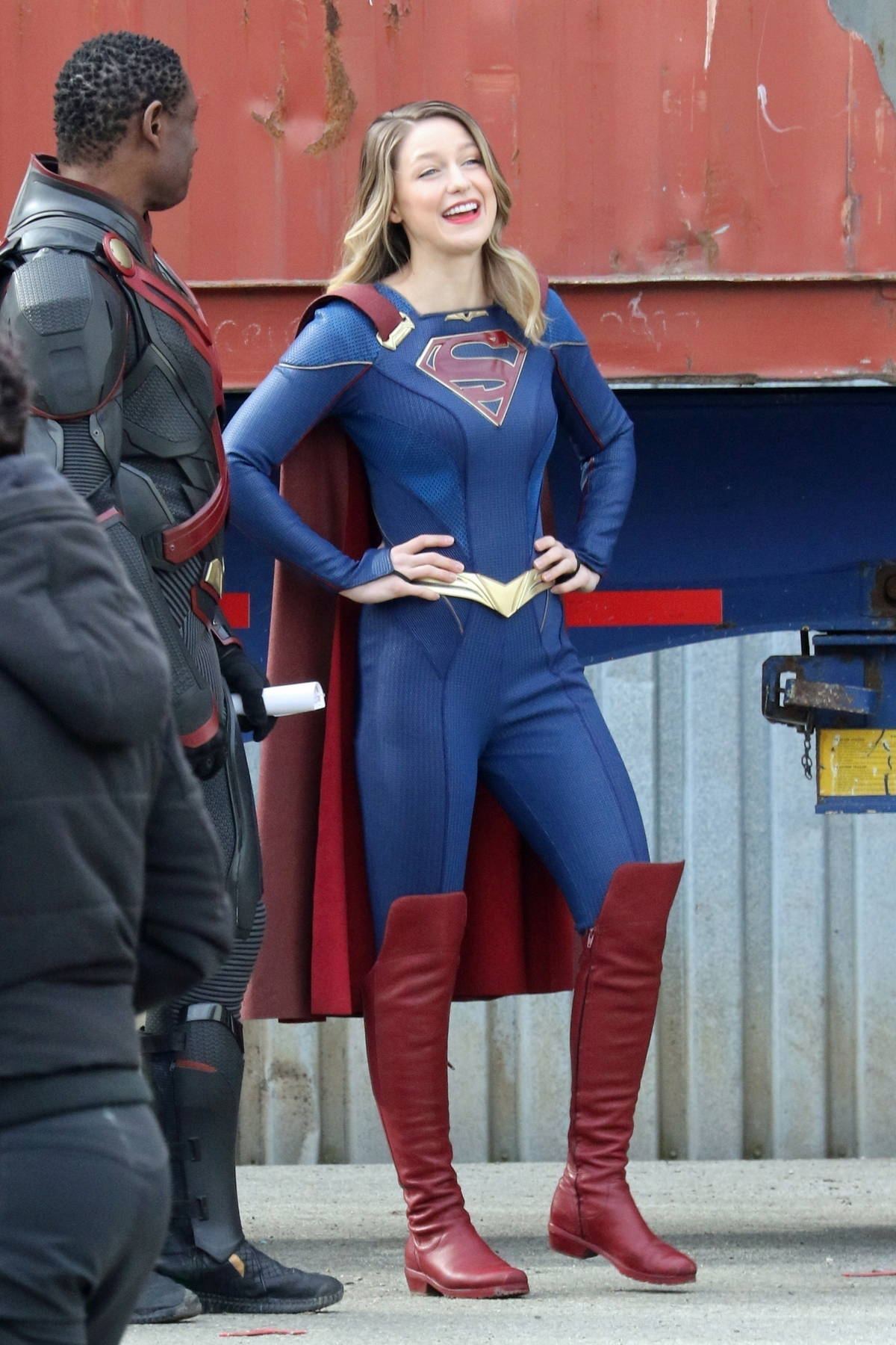 Melissa Benoist seen filming an action scene as she returns to the set of 'Supergirl' in Vancouver, Canada