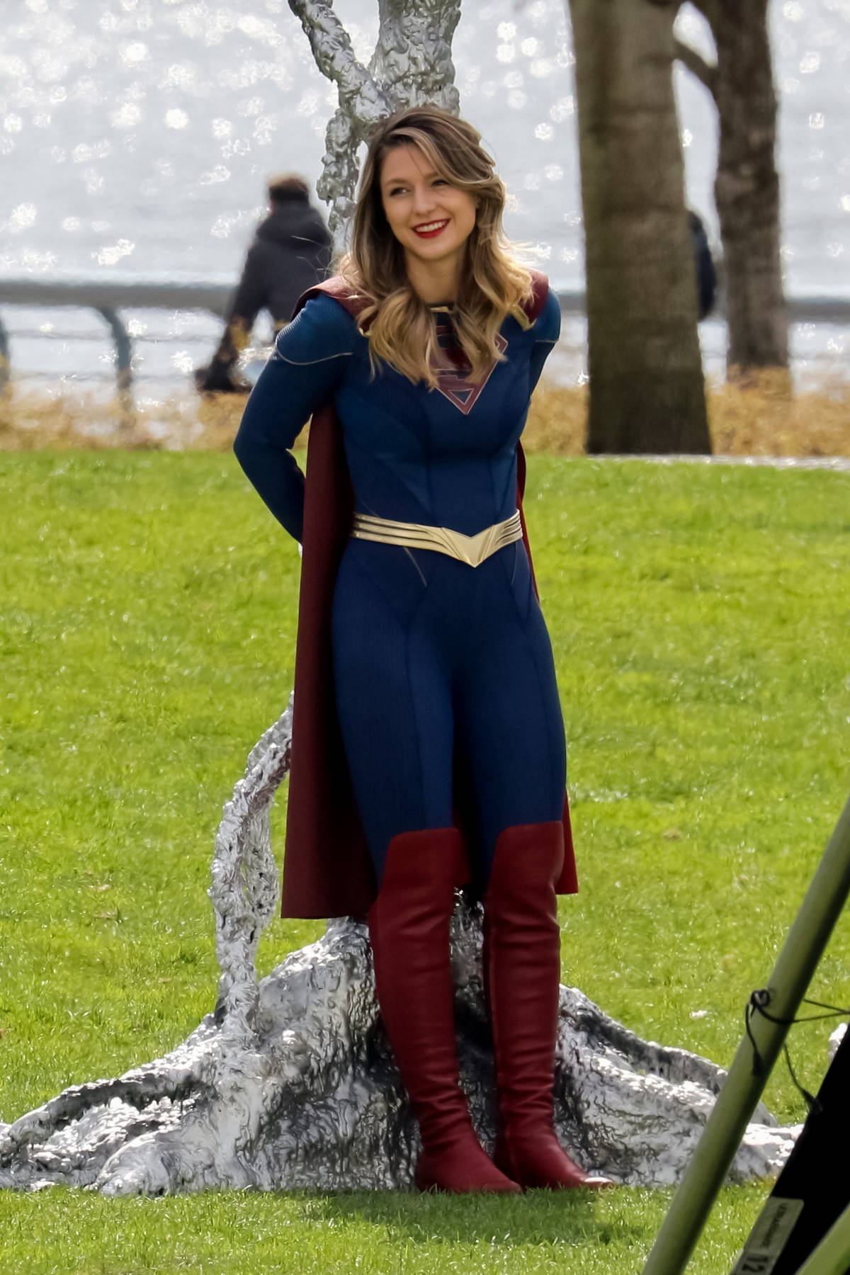 Melissa Benoist spotted while filming a battle scene for 'Supergirl' in Vancouver, Canada