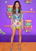 Miranda Cosgrove attends Nickelodeon's Kids' Choice Awards 2021 at Barker Hangar in Santa Monica, California