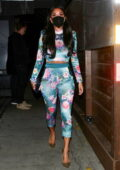 Nicole Scherzinger dons a colorful outfit during a date night with boyfriend Thom Evans at Craig's in West Hollywood, California