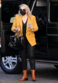 Rebel Wilson looks striking in black and yellow as she arrives at The Maybourne Hotel on her 41st Birthday in Beverly Hills, California