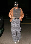 Rihanna cuts a casual figure as she arrives for a late night dinner at Giorgio Baldi in Santa Monica, California