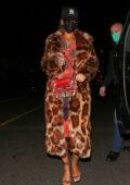 Rihanna dons an animal print fur coat as she leaves dinner at Giorgio Baldi in Santa Monica, California