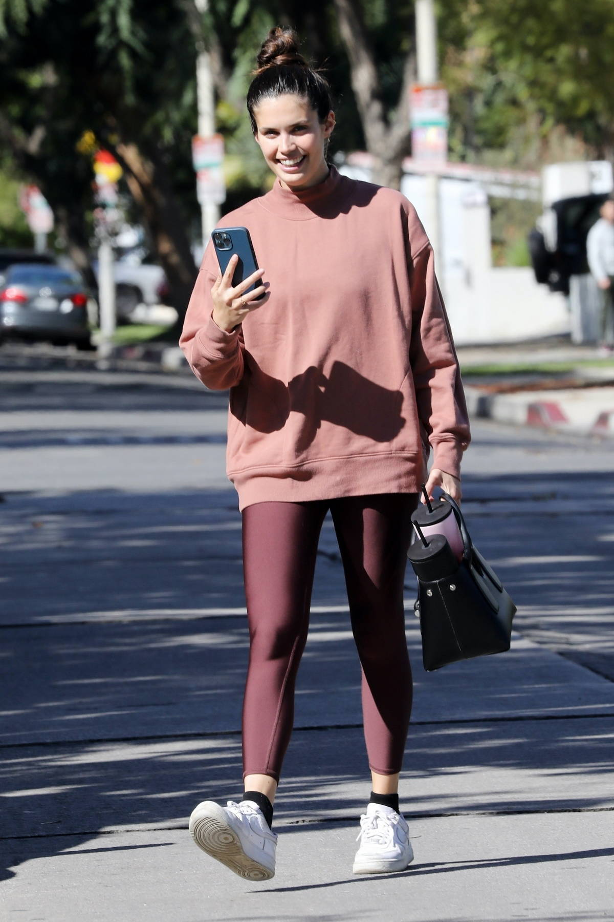 Sara Sampaio is all smiles as she leaves her daily Pilates class in Los Angeles