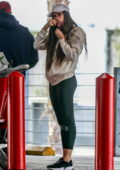 Sara Sampaio sports a hoodie and leggings for a grocery run at Target in West Hollywood, California
