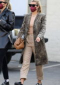 Sofia Richie wears an animal print coat for a late lunch in Beverly Hills, California
