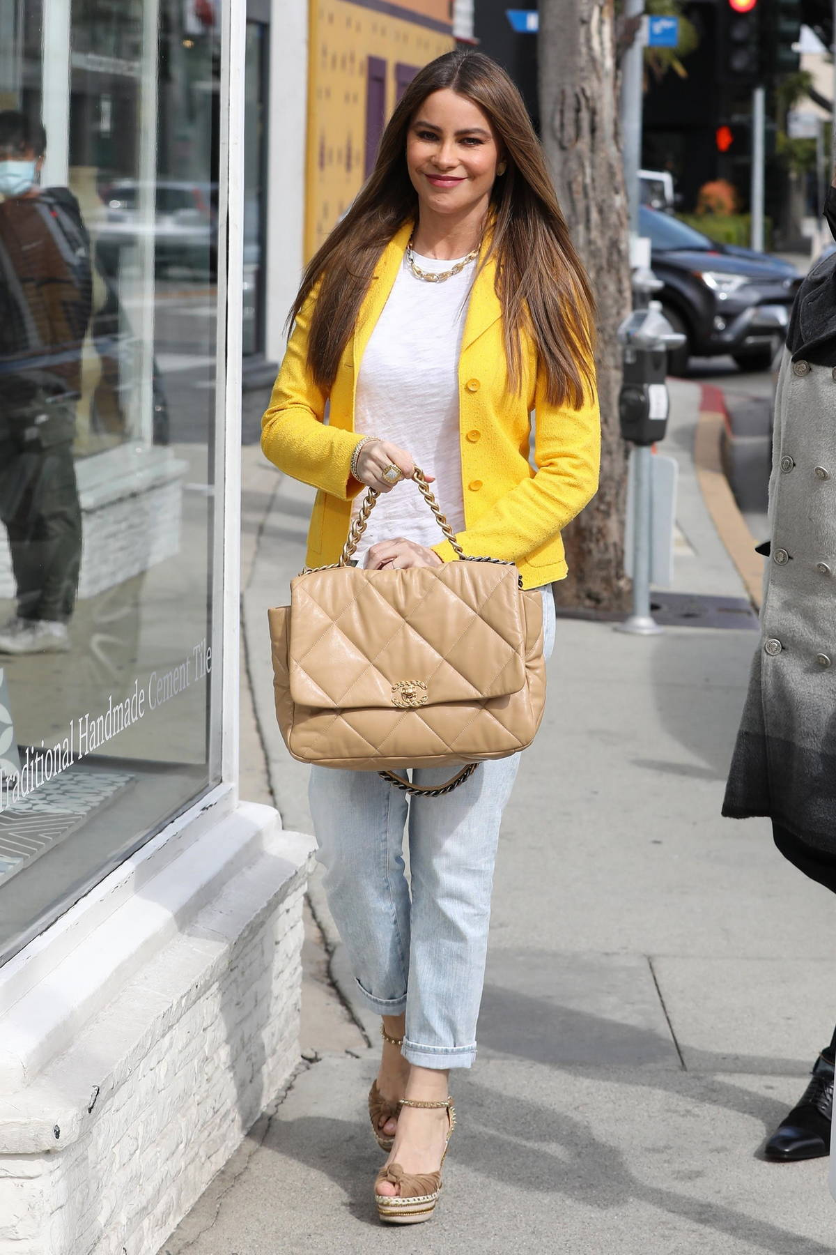 Sofia Vergara looks striking in a yellow jacket as she steps out for some shopping in West Hollywood, California