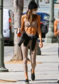 Alessandra Ambrosio flashes her ripped abs in a workout top and leggings as she hits the gym with a friend in Los Angeles