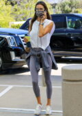 Alessandra Ambrosio looks sporty in her athleisure clothing while heading to a business meeting in Beverly Hills, California