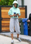 Alessandra Ambrosio sports a blue-green cropped hoodie and grey sweatpants for a workout session in Los Angeles