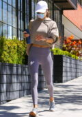 Alessandra Ambrosio sports a cropped hoodie and leggings while arriving at her morning Pilates class in Los Angeles