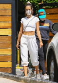 Alessandra Ambrosio sports all-white workout gear as she hits the gym before some shopping in West Hollywood, California