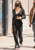 Amelia Hamlin flashes her abs while out shopping with friends on Rodeo Drive in Beverly Hills, California