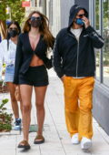 Amelia Hamlin flaunts her legs in black shorts while visiting the Chrome Hearts store with Scott Disick in Miami, Florida