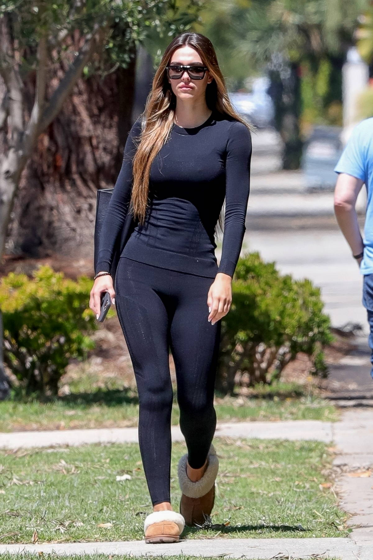 Amelia Hamlin leaves her Pilates class sporting a full-sleeve black top and leggings in West Hollywood, California