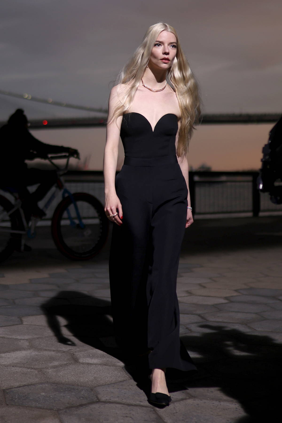 Anya Taylor-Joy looks radiant in all-black during a photoshoot for Tiffany & Co. in New York City