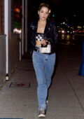 Ashley Benson rocks a leather jacket over a tube top as she steps out to dinner at Delilah in Los Angeles