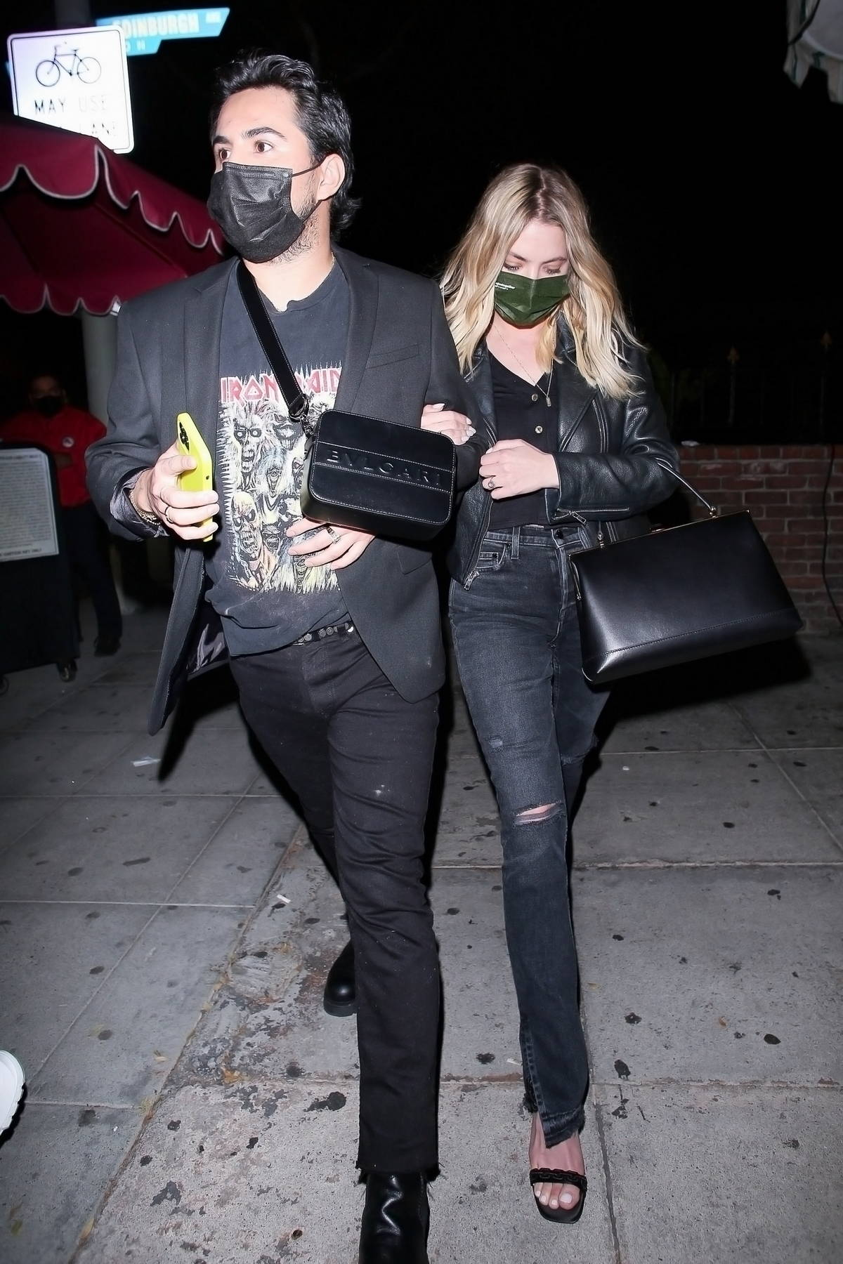Ashley Benson spotted in all-black during a night out with friends at Delilah in West Hollywood, California
