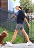 Aubrey Plaza keeps it casual with a tee and legging shorts while walking her dogs in Los Feliz, California