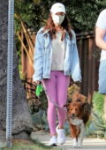 Aubrey Plaza wears pink leggings and denim jacket while out walking her dogs with Jeff Baena in Los Feliz, California