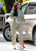 Becky G takes a break while filming for a commercial in Los Angeles