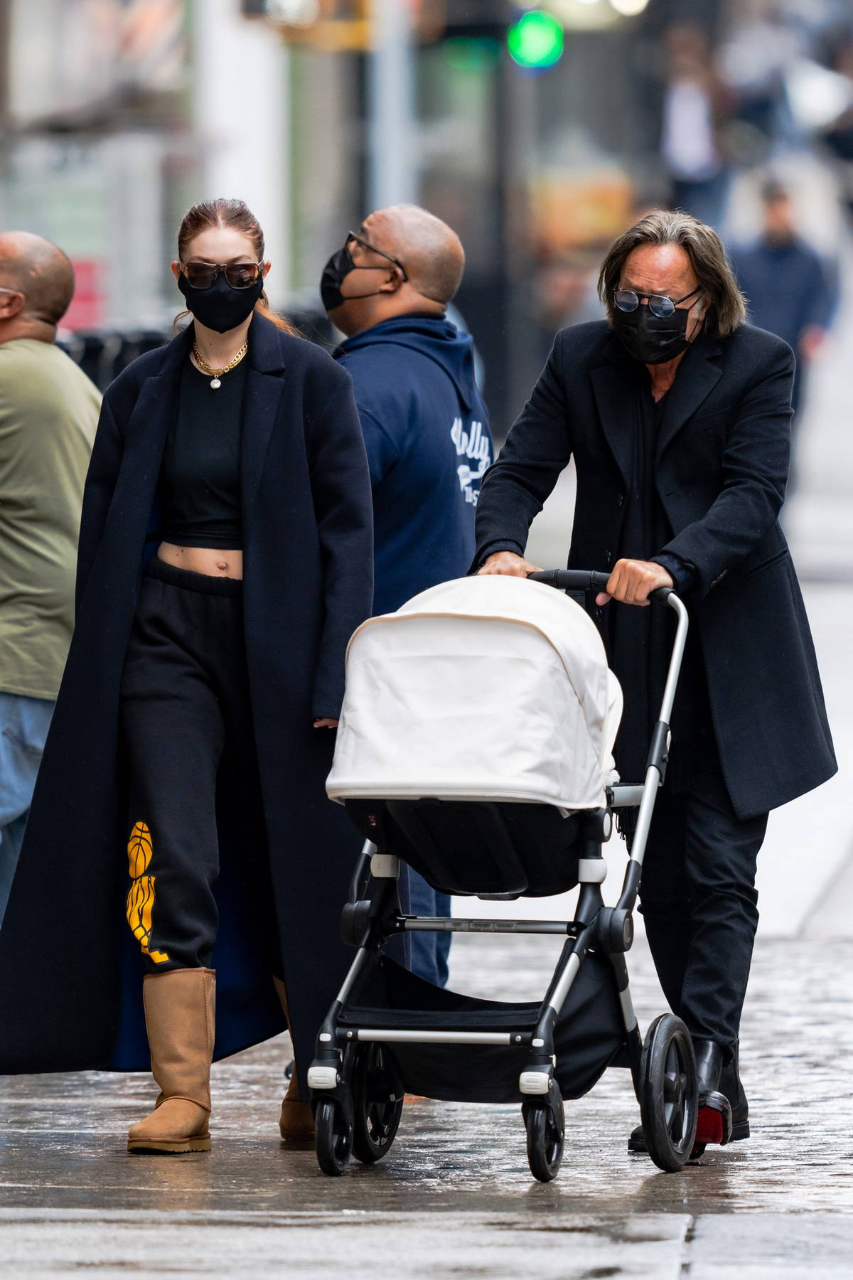 Bella and Gigi Hadid joined by their father Mohamed Hadid for a stroll to lunch at Mercer Kitchen in New York City