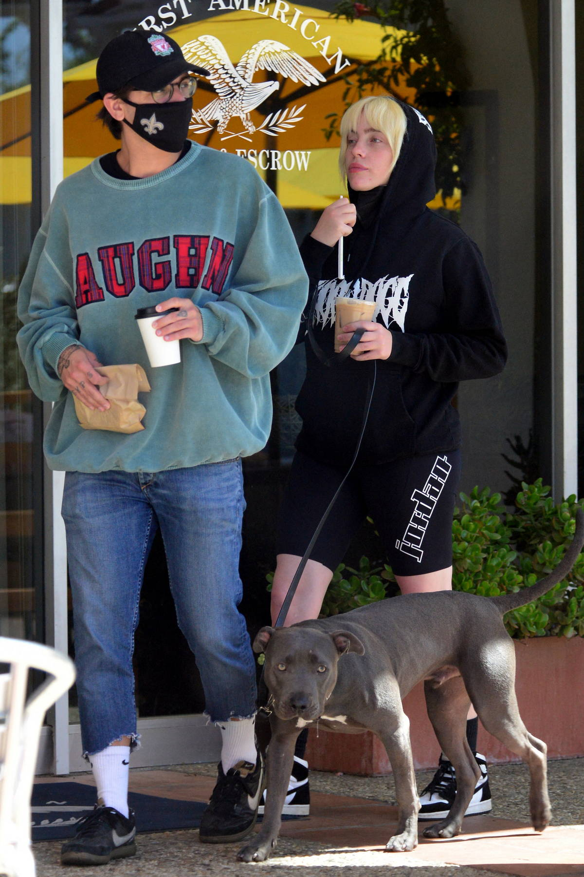 Billie Eilish grabs coffees with her new boyfriend Matthew Vorce while out on a walk with her dog in Encino, California