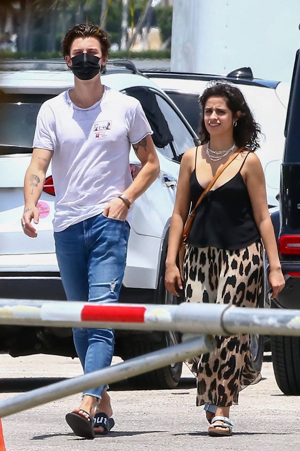 Camila Cabello and Shawn Mendes walk through a parking lot to have lunch together in Miami, Florida