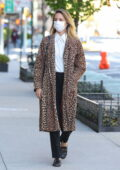 Dianna Agron looks stylish in a leopard print coat while out in chilly New York City