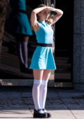 Dove Cameron spotted in a short blue dress while filming scenes for 'Powerpuff Girls' in Atlanta, Georgia