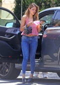 Eiza Gonzalez looks gorgeous in a pink top and skinny jeans while stepping out in West Hollywood, California