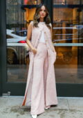 Eiza Gonzalez looks gorgeous in a long pink tweed vest with matching trousers as she steps out in New York City
