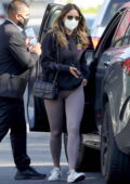 Eiza Gonzalez sports a black hoodie and purple-grey leggings as she steps out for lunch in West Hollywood, California