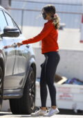 Eiza Gonzalez sports a red sweatshirt and black leggings as she leaves a gym in West Hollywood, California